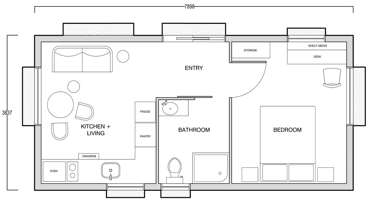 The Edge - 1br studio + kitchen